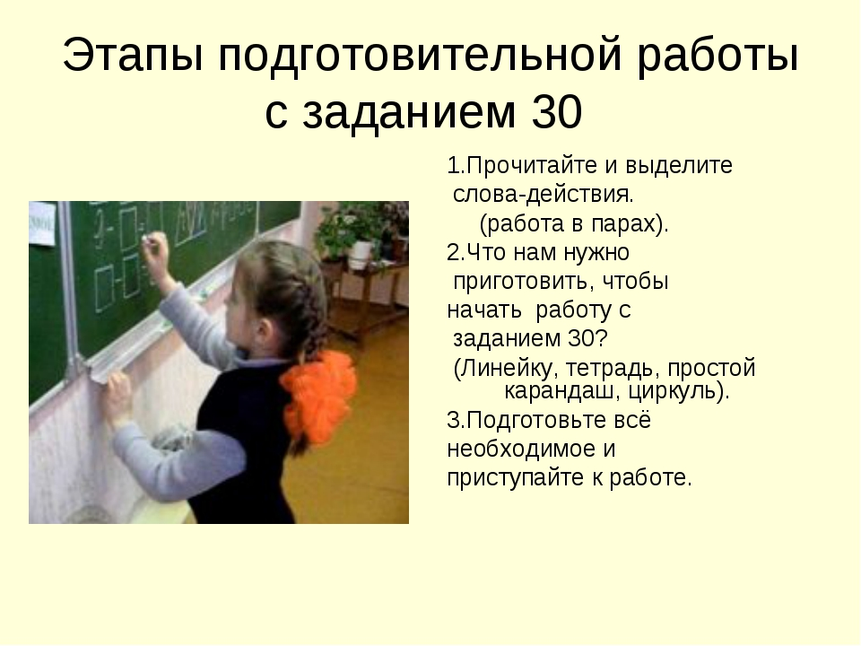 Этапы подготовительной работы с заданием 30 1.Прочитайте и выделите слова-дей...
