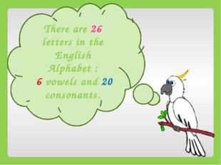 There are 26 letters in the English Alphabet : 6 vowels and 20 consonants.
