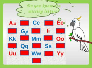 Do you know the missing letters? Aa Bb Cc Dd Ee Ff Gg Hh Ii Jj Kk Ll Mm Nn O