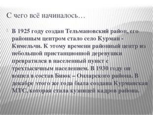 С чего всё начиналось… В 1925 году создан Тельмановский район, его районным ц