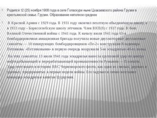 Родился 12 (25) ноября 1908 года в селе Голаскури ныне Цхакаевского района Гр