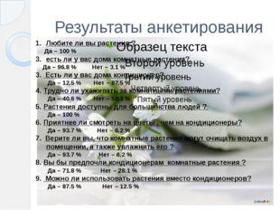 Результаты анкетирования Любите ли вы растения ? Да – 100 % есть ли у вас дом