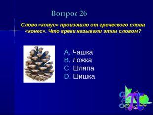 Слово «конус» произошло от греческого слова «конос». Что греки называли этим