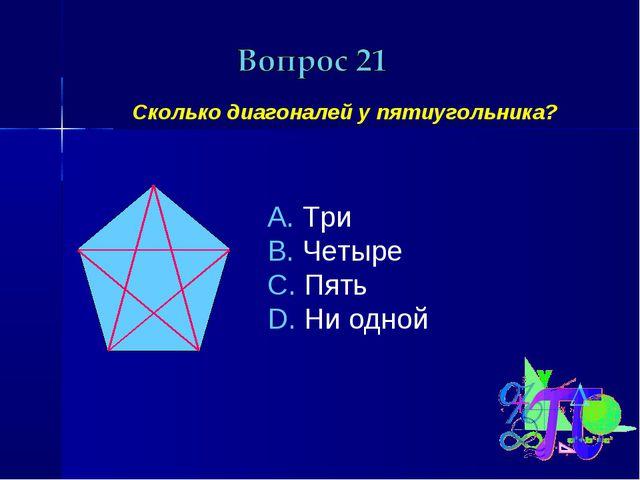 Сколько диагоналей у пятиугольника? Три Четыре Пять Ни одной