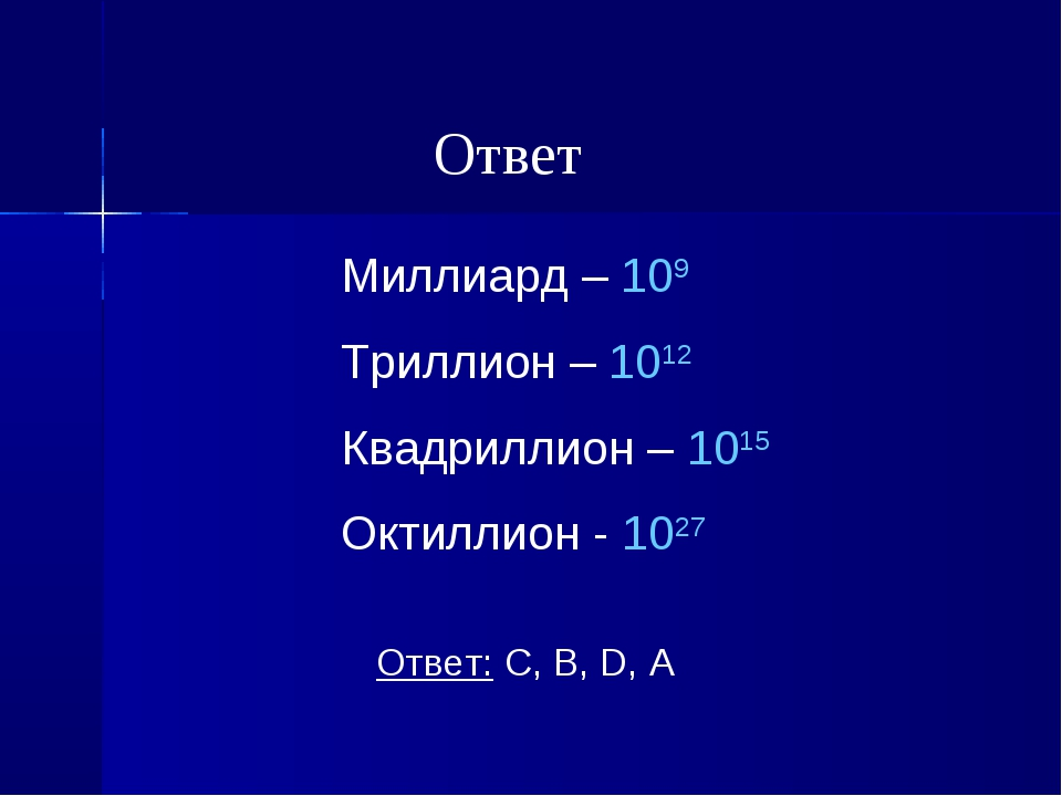 Миллиард – 109 Триллион – 1012 Квадриллион – 1015 Октиллион - 1027 Ответ: C,...