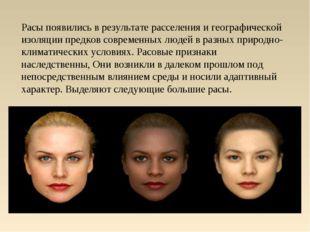 Расы появились в результате расселения и географической изоляции предков совр
