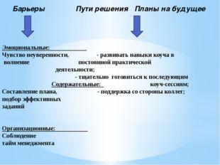 Барьеры Пути решения Планы на будущее Эмоциональные: Чувство неуверенности,