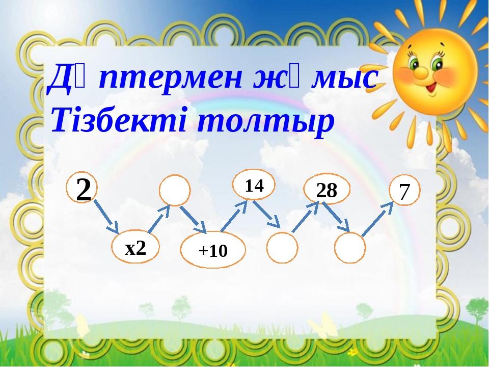 Дәптермен жұмыс Тізбекті толтыр 2 +10 х2 7 14 28