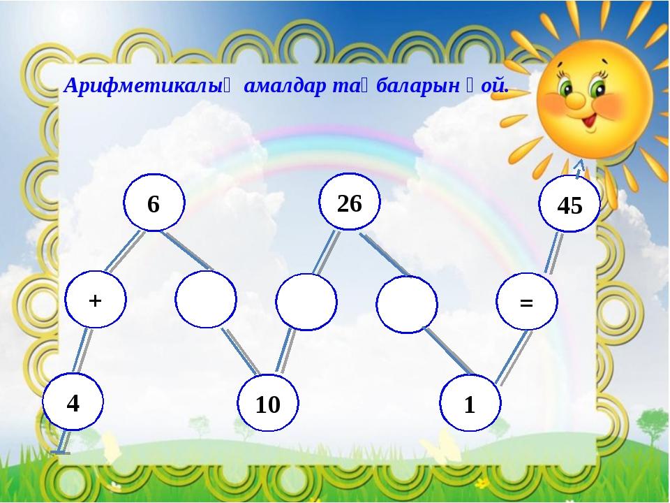 Арифметикалық амалдар таңбаларын қой. 4 + 6 10 26 1 = 45