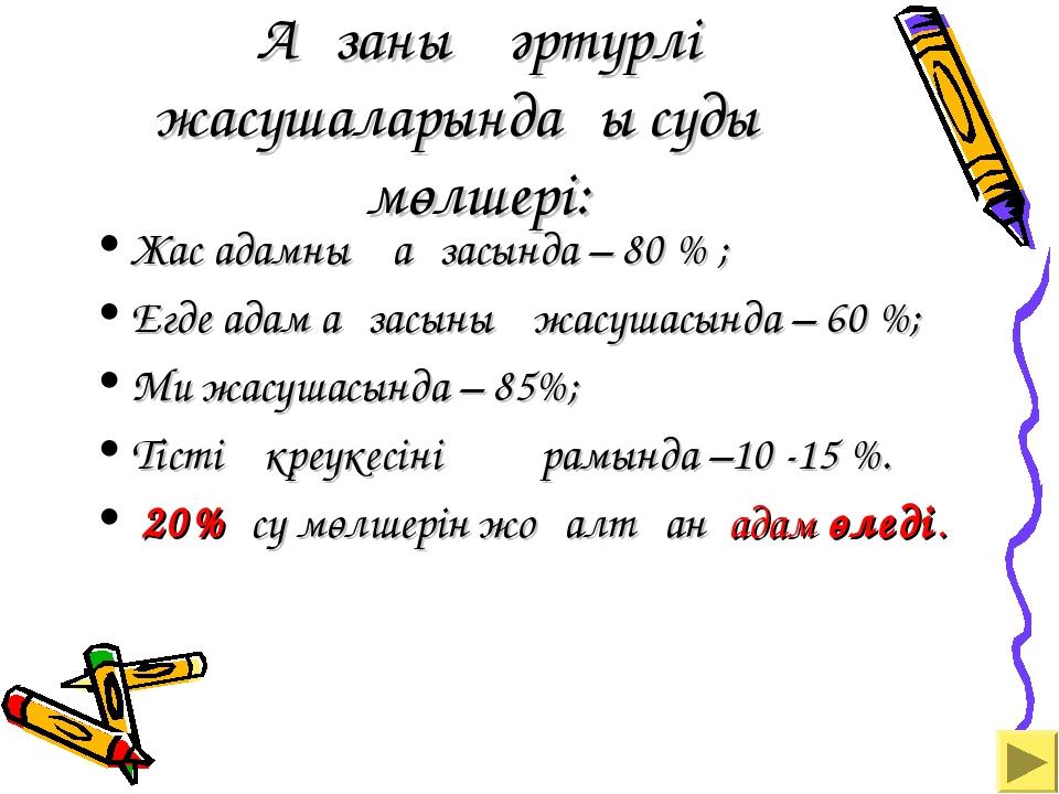Ағзаның әртүрлі жасушаларындағы судың мөлшері: Жас адамның ағзасында – 80 %...