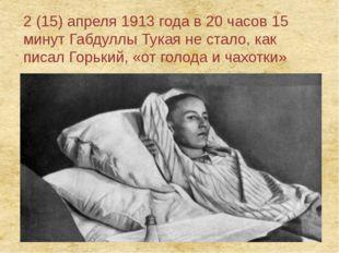 2 (15) апреля 1913 года в 20 часов 15 минут Габдуллы Тукая не стало, как писа