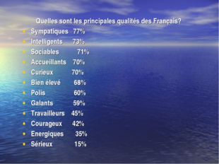 Quelles sont les principales qualités des Français? Sympatiques 77% Intellige
