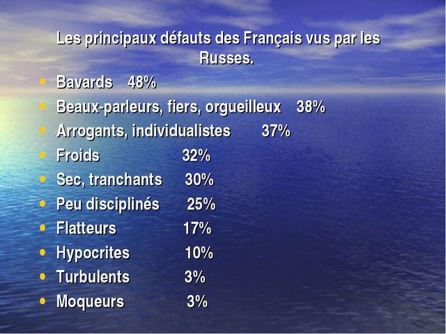 Les principaux défauts des Français vus par les Russes. Bavards 48% Beaux-par...