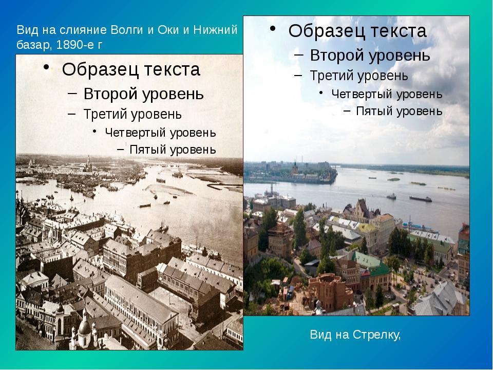 Вид на слияние Волги и Оки и Нижний базар, 1890-е г Вид на Стрелку,