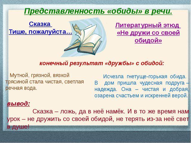 Представленность «обиды» в речи. Сказка Тише, пожалуйста… Литературный этюд «...