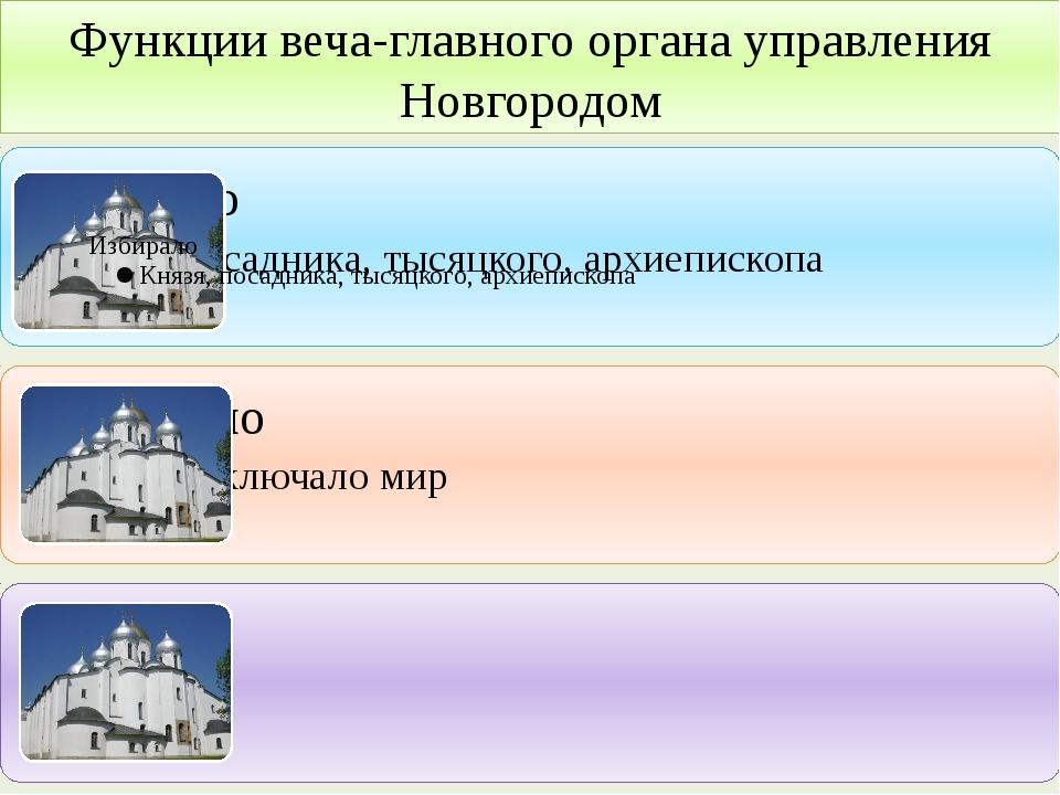 Функции веча-главного органа управления Новгородом