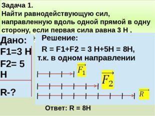Задача 1. Найти равнодействующую сил, направленную вдоль одной прямой в одну