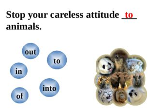 Stop your careless attitude ___ animals. into of in out to to