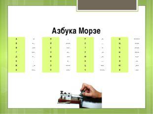 Азбука Морзе А .– И .. Р .–. Ш – – – – Б –… Й .–