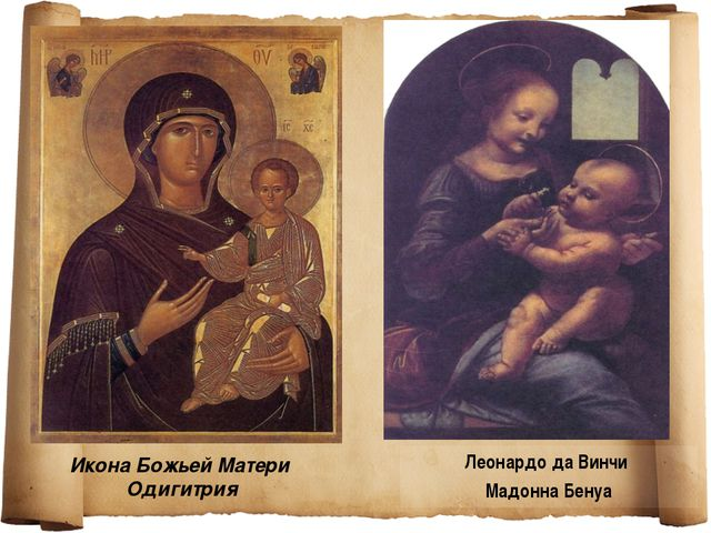 Икона Божьей Матери Одигитрия Леонардо да Винчи Мадонна Бенуа