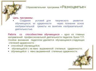 Образовательная программа «Разноцветье» Цель программы: Создание условий для