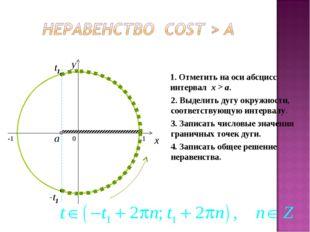 0 x y 1. Отметить на оси абсцисс интервал x > a. 2. Выделить дугу окружности,