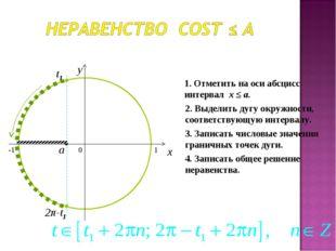 0 x y 1. Отметить на оси абсцисс интервал x ≤ a. 2. Выделить дугу окружности,