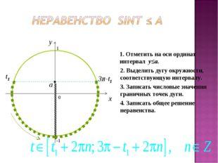 0 x y 1. Отметить на оси ординат интервал y≤a. 2. Выделить дугу окружности, с