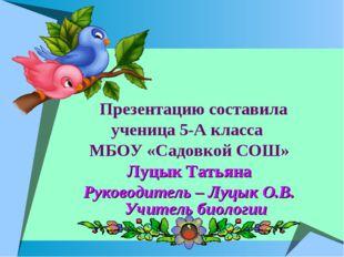Презентацию составила ученица 5-А класса МБОУ «Садовкой СОШ» Луцык Татьяна Р