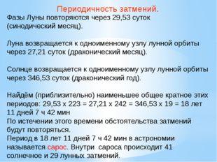 Периодичность затмений. Фазы Луны повторяются через 29,53 суток (синодический