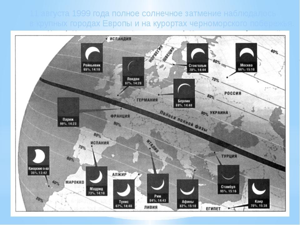 11 августа 1999 года полное солнечное затмение наблюдалось в крупных городах...