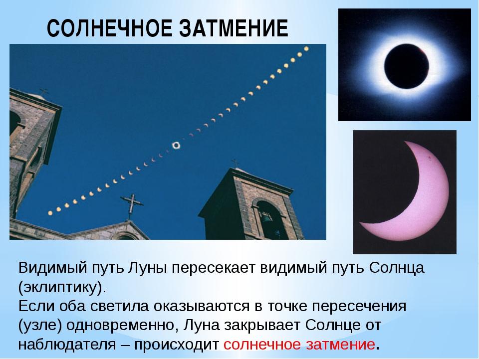 Видимый путь Луны пересекает видимый путь Солнца (эклиптику). Если оба светил...