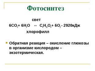 Фотосинтез свет 6СО2+ 6Н2О ↔ С6Н12О6+ 6О2 - 2920кДж хлорофилл Обратная реакц