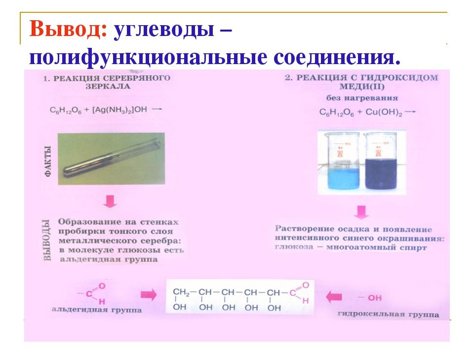 Вывод: углеводы – полифункциональные соединения.