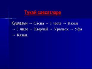 Тукай сәяхәтләре Кушлавыч → Сасна → Өчиле → Казан → Өчиле → Кырлай → Уральск