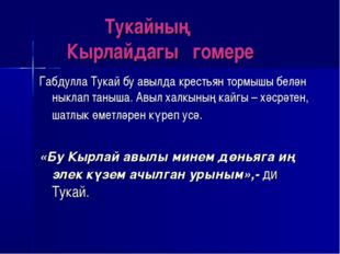 Тукайның Кырлайдагы гомере Габдулла Тукай бу авылда крестьян тормышы белән н
