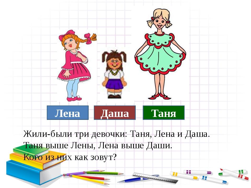 Жили-были три девочки: Таня, Лена и Даша. Таня выше Лены, Лена выше Даши. Ко...