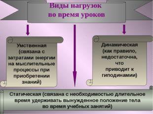 Виды нагрузок во время уроков Умственная (связана с затратами энергии на мысл
