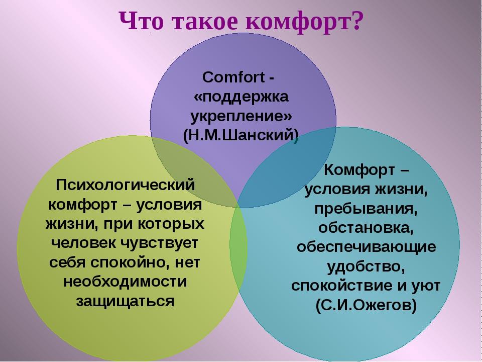 Что такое комфорт? Comfort - «поддержка укрепление» (Н.М.Шанский) Комфорт – у...