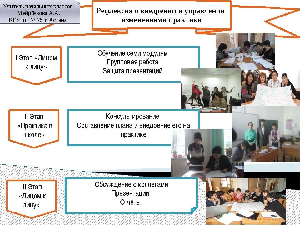 Рефлексия о внедрении и управлении изменениями практики Учитель начальных кла...