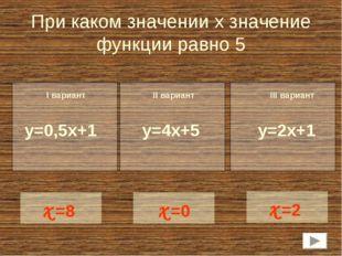 При каком значении х значение функции равно 5 y=0,5x+1 x=8 I вариант II вариа