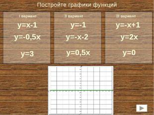 Постройте графики функций y=x-1 y=-0,5х y=3 y=-1 y=-х-2 y=0,5х y=-х+1 y=2х y=