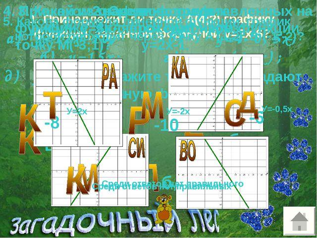 1. Принадлежит ли точка А(4;2) графику функции, заданной формулой у=2х-6? 2....