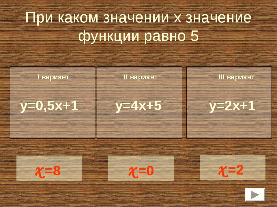 При каком значении х значение функции равно 5 y=0,5x+1 x=8 I вариант II вариа...