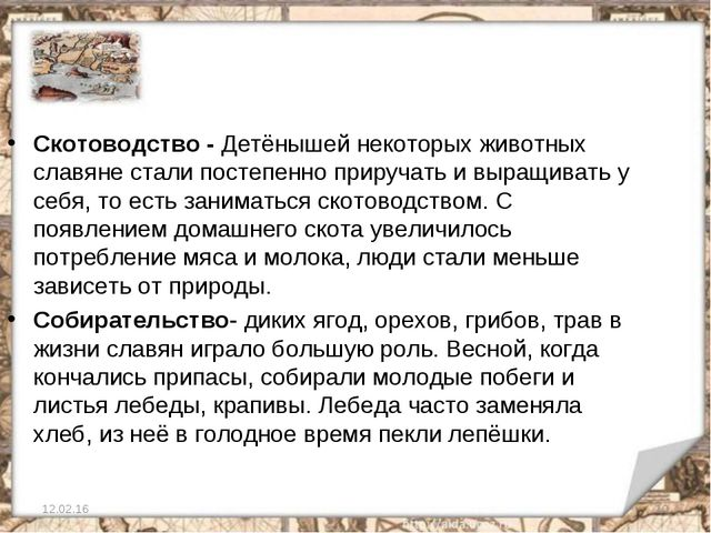 12.02.16 * Скотоводство - Детёнышей некоторых животных славяне стали постепен...