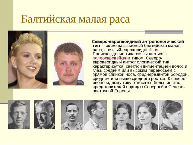 Балтийская малая раса Северо-европеоидный антропологический тип - так же назы...