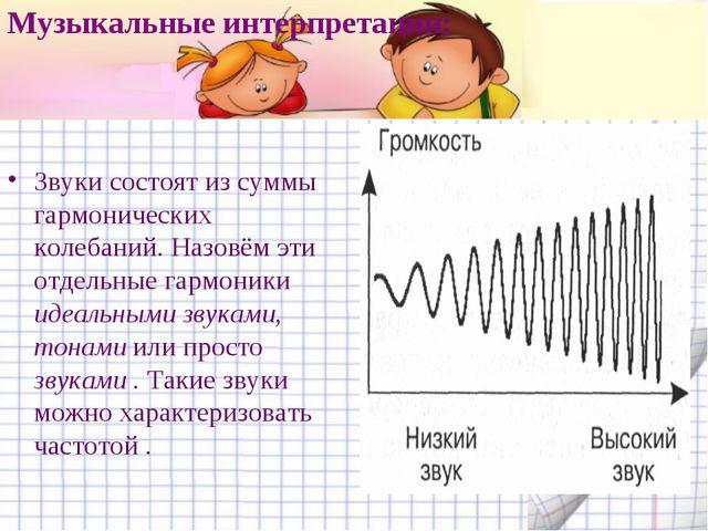 Музыкальные интерпретации: Звуки состоят из суммы гармонических колебаний. На...
