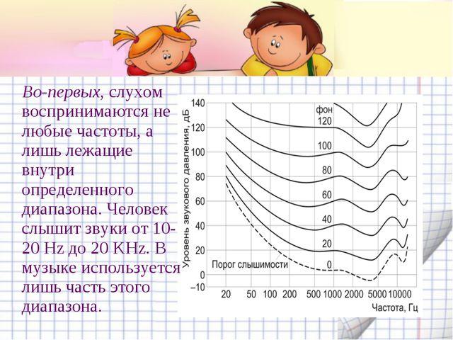 Во-первых, слухом воспринимаются не любые частоты, а лишь лежащие внутри опр...