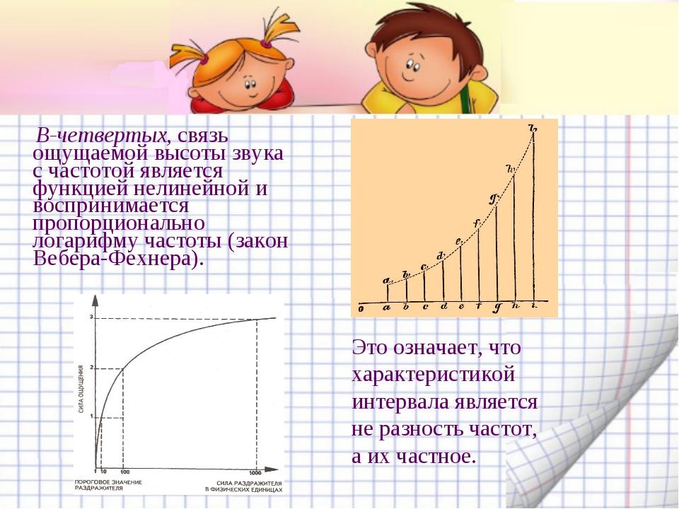 В-четвертых, связь ощущаемой высоты звука с частотой является функцией нелин...