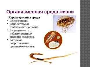Организменная среда жизни Характеристика среды Обилие пищи. Относительная ста